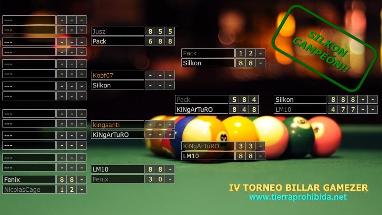 Silkon gana el IV Torneo Billar Gamezer